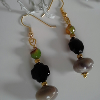 Agate, Mookite, Onyx , Gold Plated Earrings