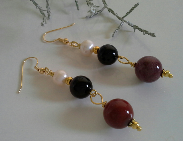 Freshwater Pearl, Agate,  mookite Gold Plated Earrings
