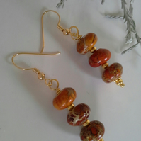 Jasper Gold Plated Earrings