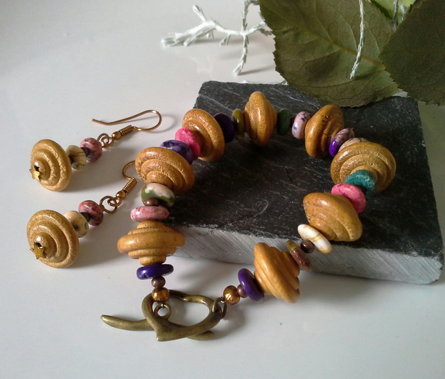 Hawalite & Wooden Bracelet  & Earring Set