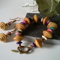 Hawalite & Wooden Bracelet  & Earring Set Antique Finish