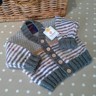 Baby Boys Cardigan  with 30% marino wool mix 6-12 months size