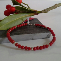 Red Coral Sterling Silver Stacker Bracelet