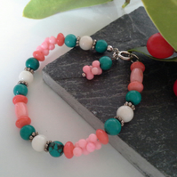 Genuine Coral and Turquoise Sterling silver bracelet