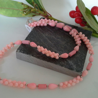 Pritty Unique Peach Coral (Sterling silver) Necklace
