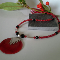 Genuine Red Coral & Black Onyx Sterling Silver  Necklace