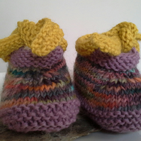 Luxery Unisex Baby Shoes with Designer hand dyed pure new wool  0-6 months