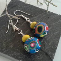 Hand made Polymer Clay & Genuine Magnetite Silver Plate  Earings