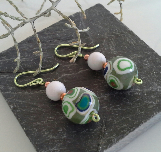Hand Made Polymer Clay & Onyx Earings