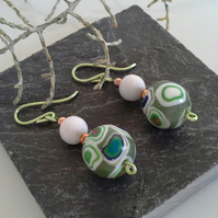 Hand Made Polymer Clay &White  Onyx Earings