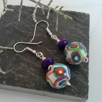 Hand made Polymer Clay beads & Genuine Magnesite Silver Plate Earings