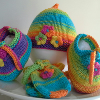 Baby Girl's Rainbow Hat, Shoes & Mitt Gift Set  3-9 months