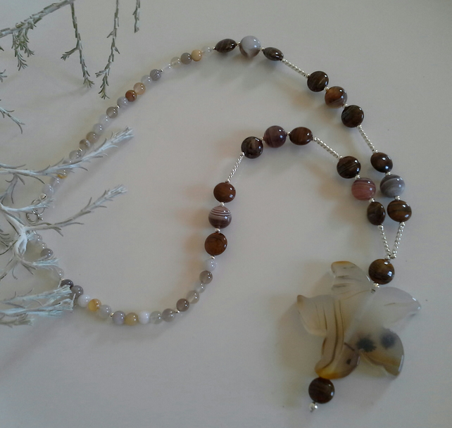 Botswana Agate & Jasper Sterling Silver Necklace