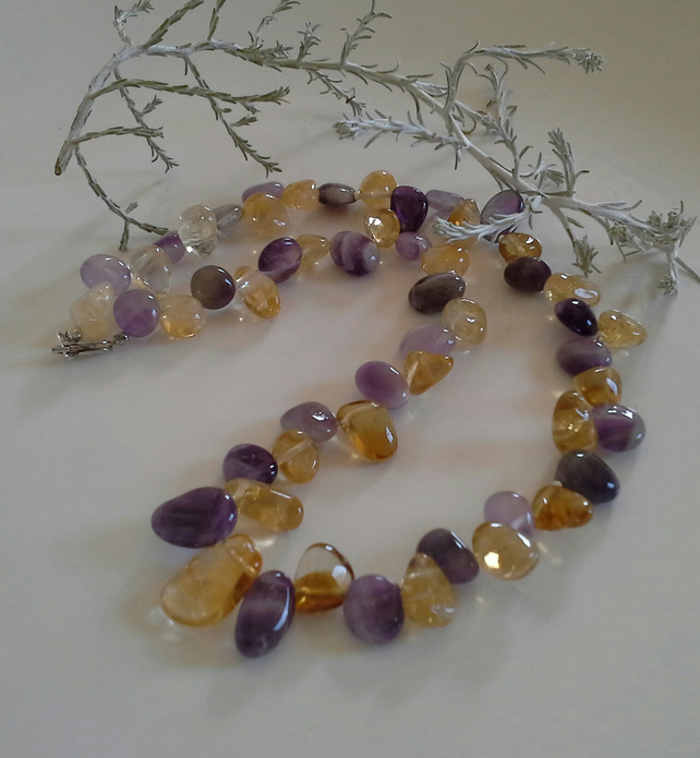 Citrine & Amethyst Drop Sterling Silver Necklace