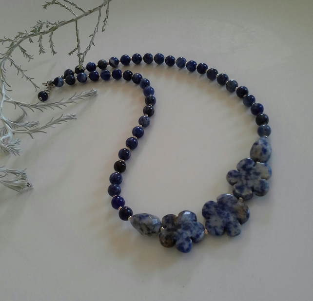 Sodalite & Blue Spotted Jasper Sterling Silver Necklace