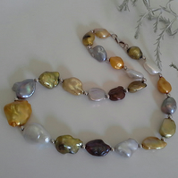 Large Keshi Pearl Sterling Silver Necklace