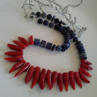 Statement Red Coral & Sodalite Sterling Silver Statement Necklace
