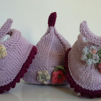 Luxery Baby Girl's 'Jaeger'  Merino Wool Hat & Shoe set  3-9 months size
