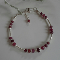 Natural Ruby  Noodle Sterling Silver Bangle