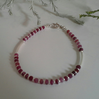 Natural Genuine Ruby Sterling Silver Bracelet