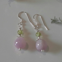 Rare AA Kunzite & Peridot Sterling Silver Earrings