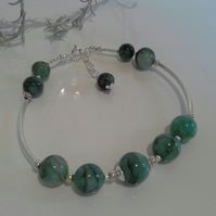 Natural Untreated Emerald Sterling Silver Bangle Style Bracelet