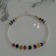Luxery Genuine Ruby, Sapphire & Emerald Noodle  Sterling Silver Brangle