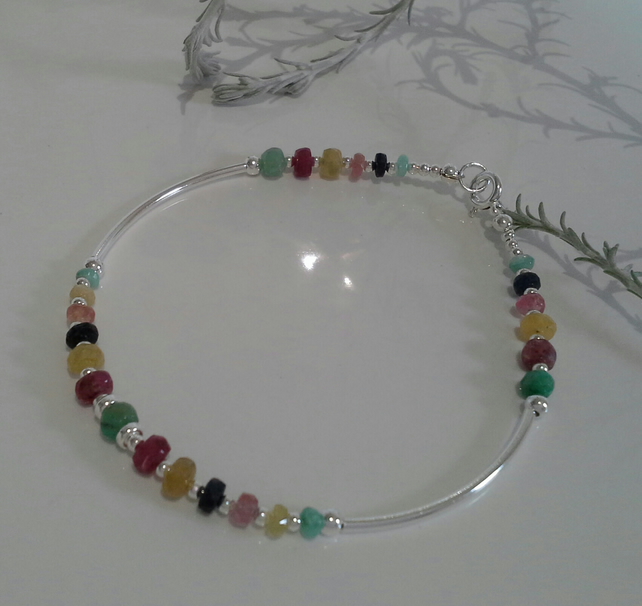 Luxury Genuine, Sapphire & Emerald Noodle Sterling Silver Brangle