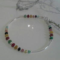 Ruby, Sapphire & Emerald Noodle Sterling Silver Brangle