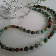 African Turquoise,  Jasper ; Unikite Sterling Silver Necklace