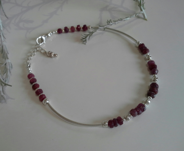Natural Genuine Ruby  Noodle Sterling Silver Bangle