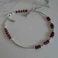 Ruby  Noodle Sterling Silver Bangle