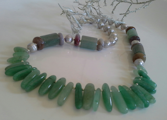 Green Aventurine, Jasper & Freshwater Pearls Sterling Silver Necklace