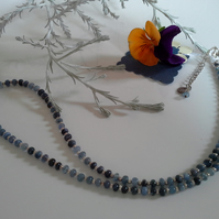Genuine Burmese Shades of Blue Sapphire Sterling Silver Necklace