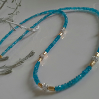 Rare Natural Untreated Neon Apatite Gold Vermeil Necklace