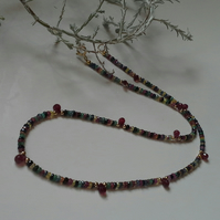 9k Gold. Ombre Sapphires, Emerald,  Ruby Necklace 'ONE OFF'