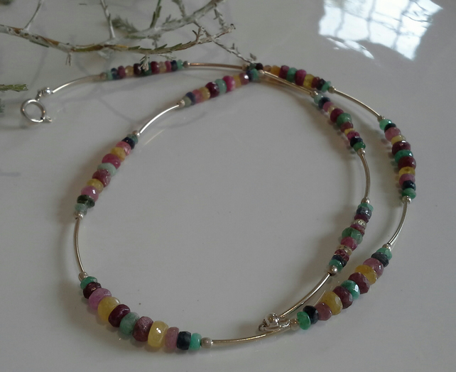 Multi Coloured Sapphire, Emerald & Ruby Sterling Silver Necklace