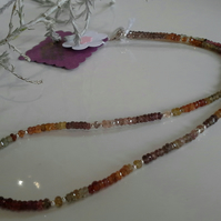 Genuine Fancy Sapphires,  Garnet, & Rare Spinel Sterling Silver Necklace
