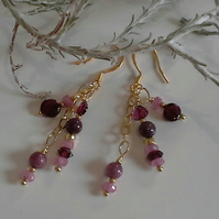 Ruby, Pink Sapphires & Rhodolite Garnet  Gold Vermeil Earrings