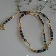 Ruby, Emerald & Sapphire  yellow Gold Vermeil Necklace