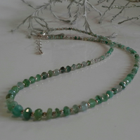 Genuine Faceted Emerald Sterling Silver Necklace