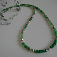 Genuine Faceted Shades of Emerald Necklace 925 Sterling Silver
