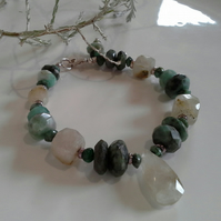 Emerald (Natural) & Rutilated Quartz Sterling Silver Bracelet