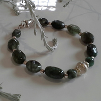Natural Untreated Emerald Sterling Silver Bracelet