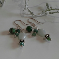 Emerald, Amazonite,  Ruby Zoizite,  Sterling Silver Cluster Earrings