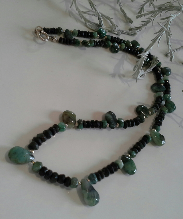 Natural Untreated Emerald Sterling Silver Necklace