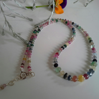 Ombre Genuine  Sapphire, Emerald & Ruby Necklace 925 Sterling Silver