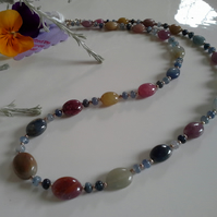 Ruby, Sapphire Sterling Silver Necklace