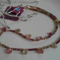 Pink Sapphires, Spinel & Garnet Gold Vermeil Necklace