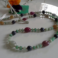Genuine Ruby,  Emerald & Sapphire Sterling Silver Necklace